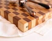maple & cherry checkered end grain cutting board XLI