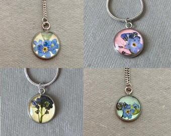 Necklace with real flowers, stainless steel, waterproof