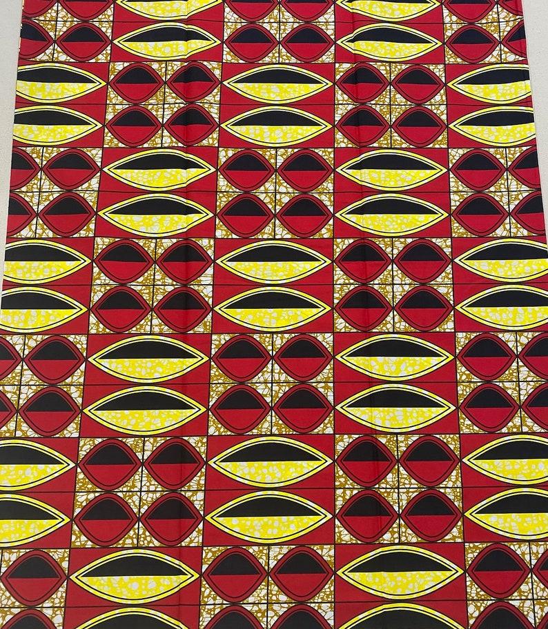 Yellow African Geometric Print Fabric \u2022 Sold by the Yard African Wax Fabric \u2022 Red