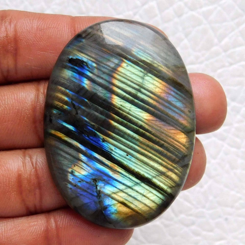 Gorgeous Zebra Print  Labradorite,Blue Multi Flashy,Oval Shape,Size 50\u00d735\u00d76mm 120.ct,Jewelry Making Cabochon,Labradorite Cabochon Gemstone