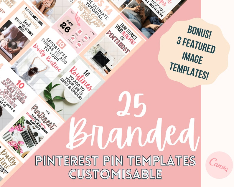 Canva Editable Blog Template  25 Digital Download Branding image 0