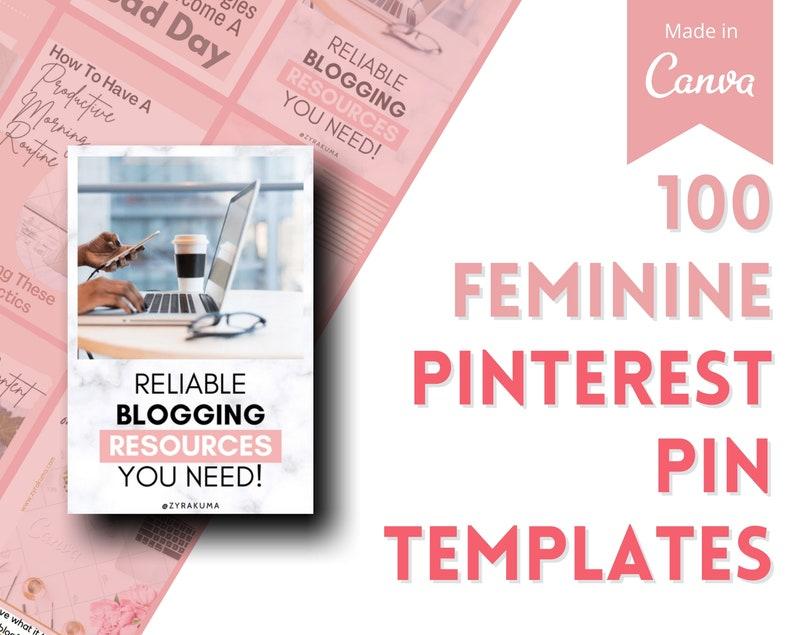 100 Feminine Pinterest Graphics  Designed Customisable Pin image 0