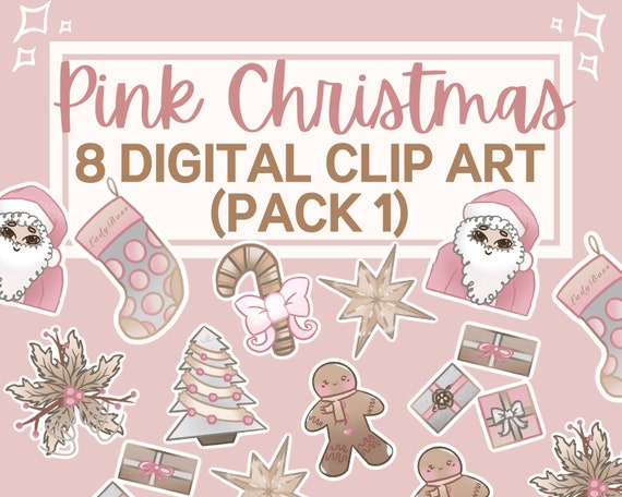 Pink Christmas Clipart PNG files | Christmas PNG instant download | Merry Christmas Clip art | Christmas Graphics | Christmas PNG files
