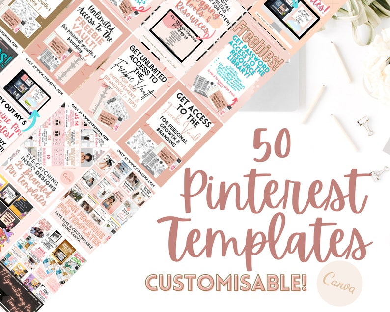 Pinterest Templates for Canva  Instant Download Canva image 0