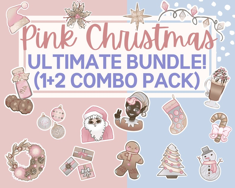 Pink Christmas Clipart PNG files  Christmas PNG instant image 0