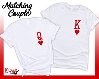2 Shirt COMBO - King and Queen of Hearts Playing Cards Shirts | Matching Shirts for Halloween, Valentine's Day, Vegas Trip, or Just Because