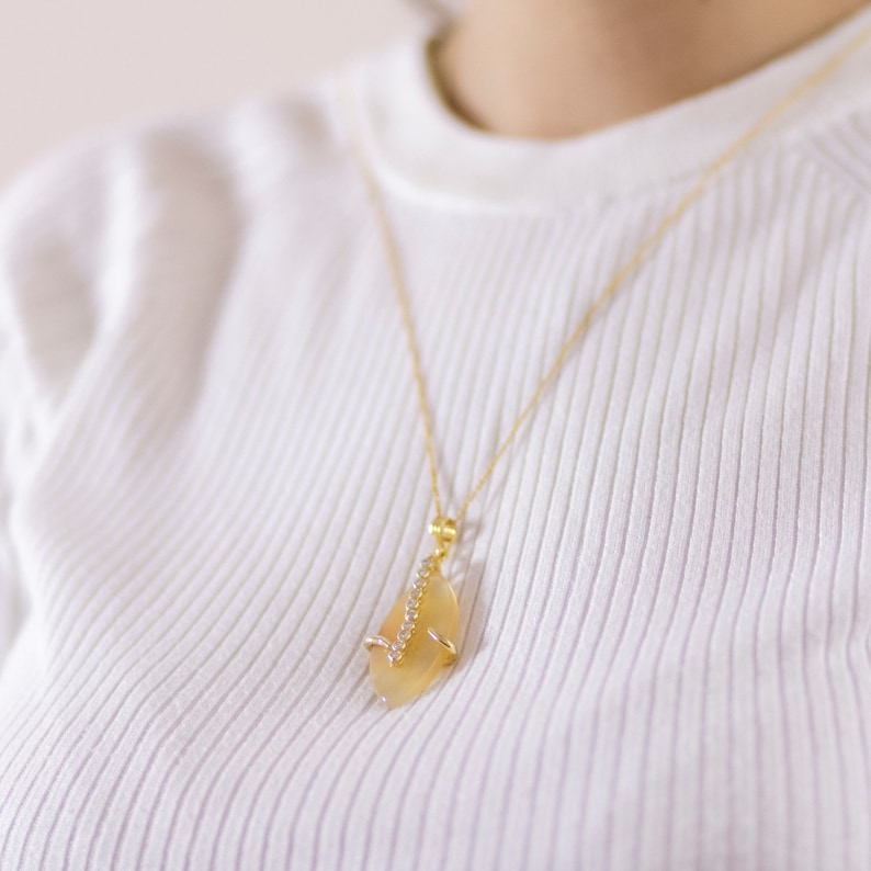 Gift For Her Sapphire Necklace Zircon Necklace Leaf Shaped Zircon Stone Necklace Gold Necklace Gift For Mother Gift For Woman