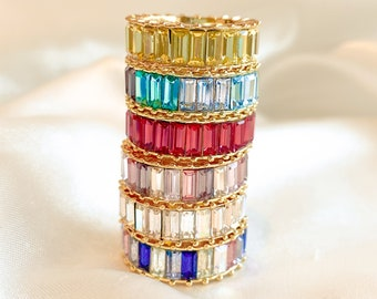 18k Gold Vermeil Rainbow Ring • CZ Stacking Ring • Rainbow Baguette Ring • Rainbow Eternity Ring • Gemstone Ring • Love Calista Sale