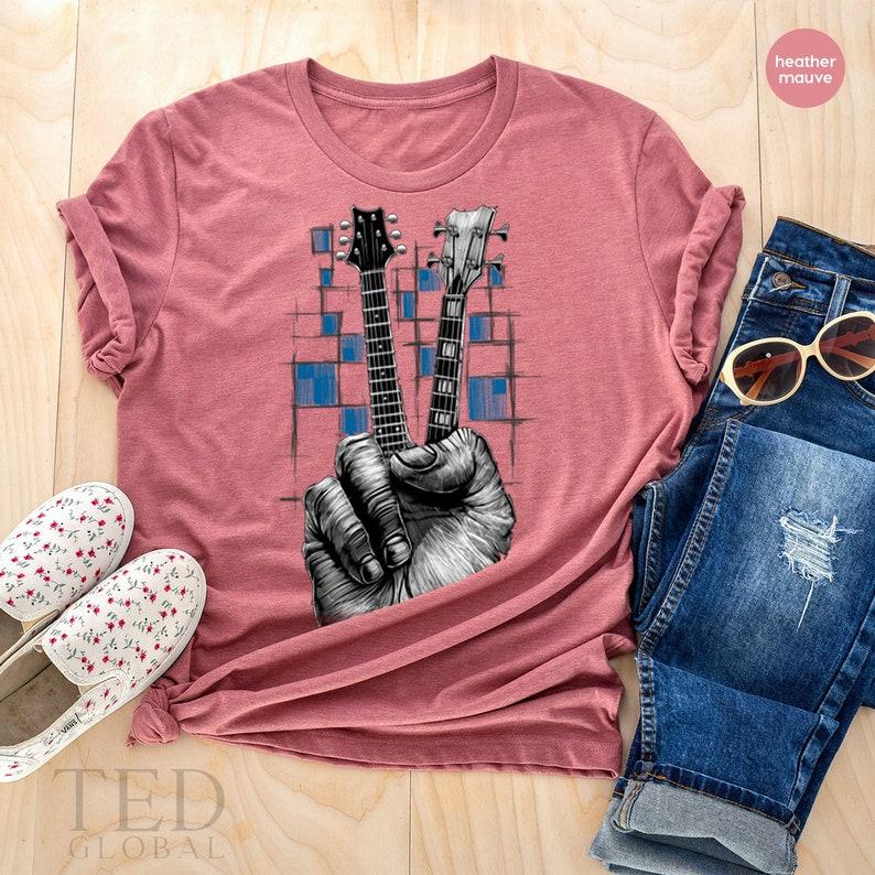 Band T Shirt Guitarists Shirt Hand Peace Sign Shirt Music Lovers  T Shirt Musicians Shirt Guitar T Shirt Peace Sign Shirt