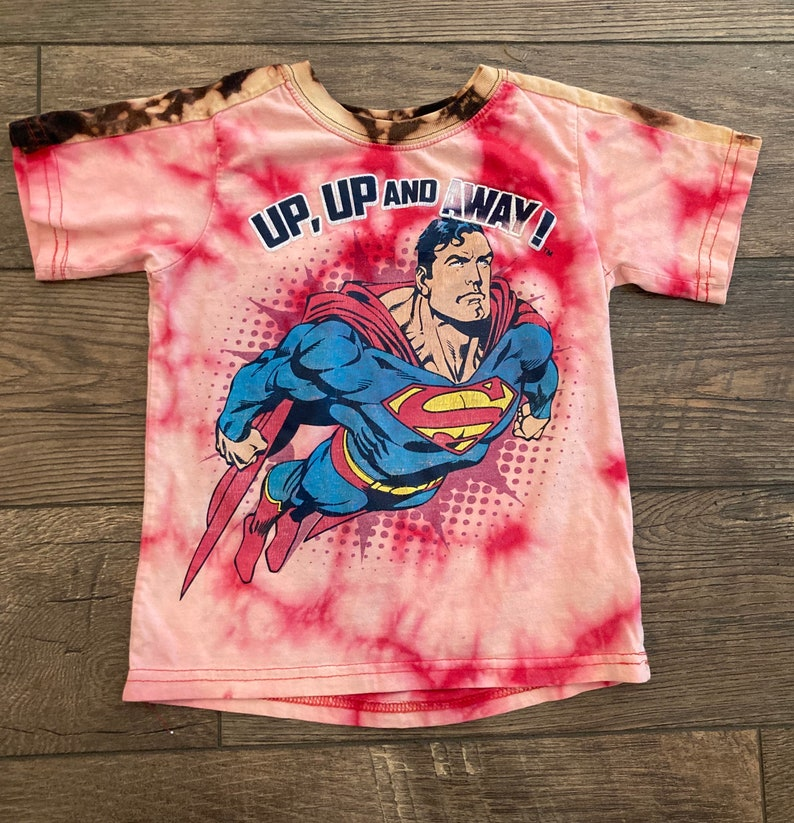 Up-Cycled Superman Bleach Dyed T-Shirt
