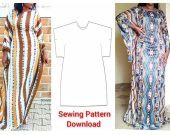 PDF Sewing Pattern for Kaftan with Tie Belts Inside / Maxi Dress Digital Instant Download / A4 / US Letter/ A0/ Print at Home