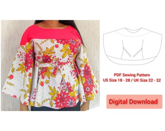 PDF Sewing Pattern Circle Top / Cape Blouse / Instant Digital Download with Video Tutorial / Print at Home