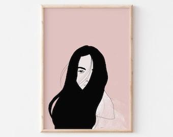 Line Art Woman Print, Woman Printable Art, Woman Room decor, Neutral Prints, Downloadable Art Poster