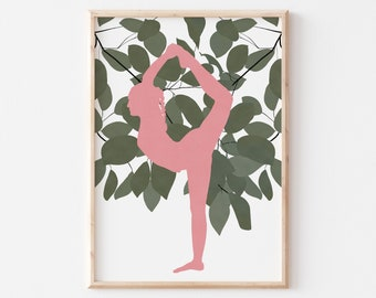 Yoga Girl Wall Art, Yoga Studio Decor, Meditation Room Wall Art, Spiritual Art for Women, Workout Room Wall Art, Instant Download