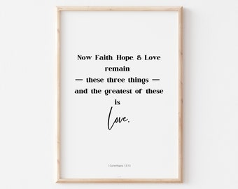 Bible Verse Wall Art Printable, Printable Wall Art on Love, Inspirational Quote, Typography Art Print, Poem Prints in 2 Colors