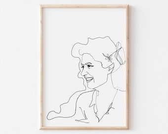 Line Art Printable, Woman Printable Art, Woman Room decor, Minimalist Art Printable, Downloadable Art Poster in Two Background Colors
