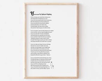 if Rudyard Kipling, If Kipling Poem, IF Poem Art Printable, Gift for Son from Dad, Literature Wall Art, Download in 2 Background Colors