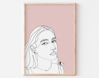 Line Art Woman Print, Woman Printable Art, Woman Room decor, Minimalist Art Printable, Downloadable Art Poster