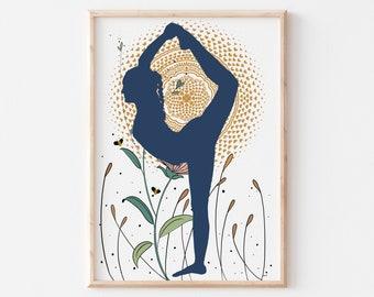 Yoga Girl Poster, Yoga Space Decor, Yoga Room Wall Art, Spiritual Art Print, motivational Wall decor for women, Instant Download