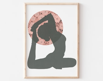 Yoga Girl Wall Art, Yoga Studio Wall Art, Meditation Room Wall Art, Spiritual Art for Women, Workout Room Wall Art Instant Download