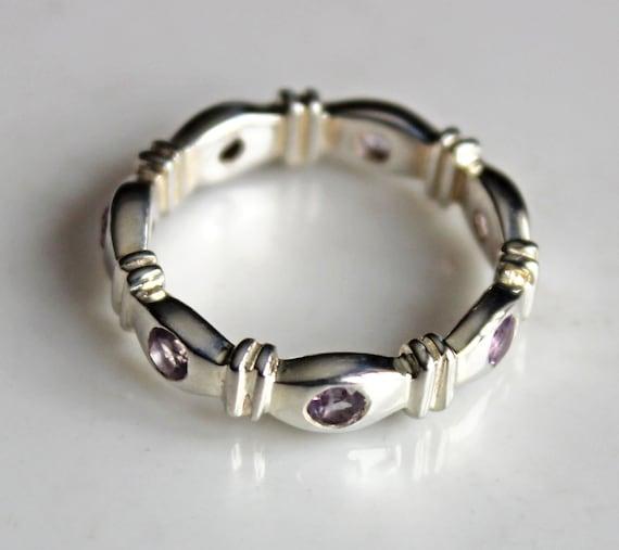 Amethyst Ring Band - Gemstone Silver Ring Band - R