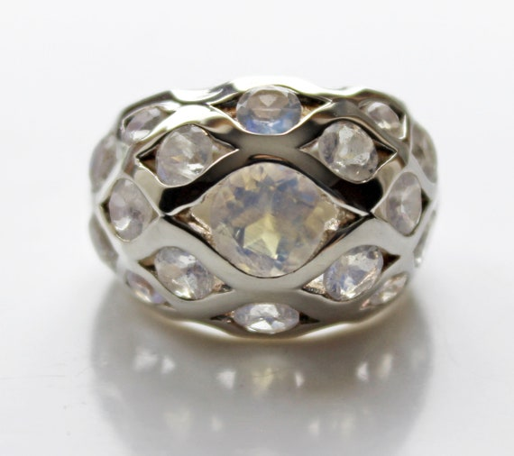 Moonstone Ring - Faceted Gemstone Ring Band - Uniq