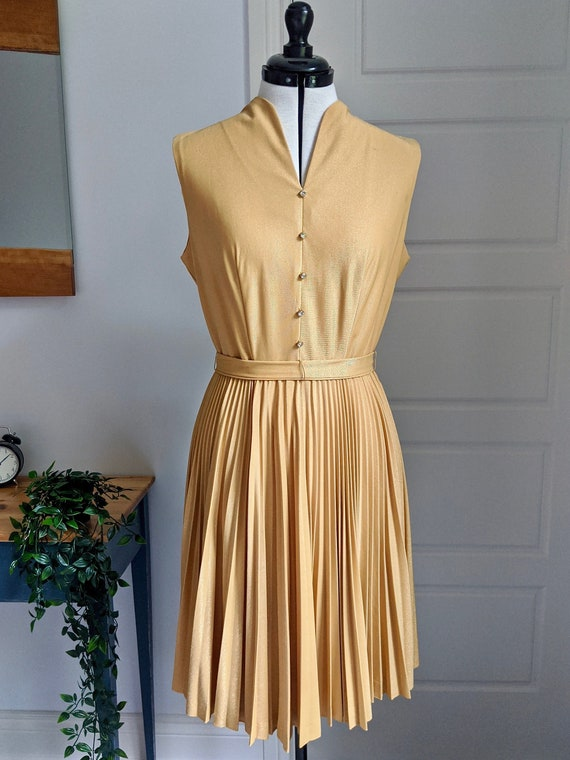 Vintage 1960s Gold Cocktail Swing Dress / 60s Cock
