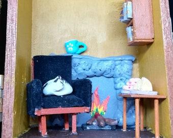 Cigar box fireside diorama
