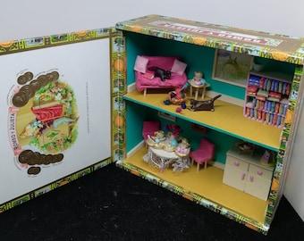 Cigar box tea party diorama