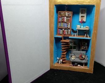Art Book tea and cats diorama