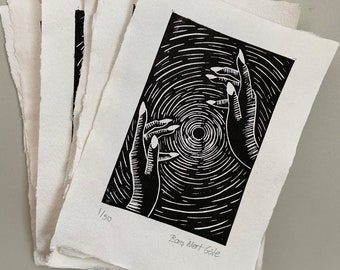 High Energy | A5 Lino Print |  Limited Edition of 50 | Hand Printed Lino Print on Handmade Paper