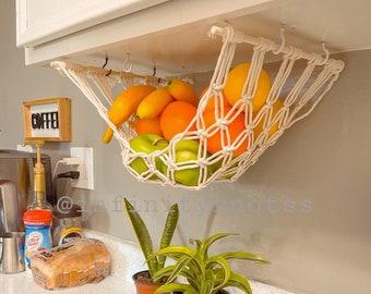 Macrame fruit hammock,Fruit Veggie Hammock, Macrame Hanging Produce Storage,Boho Handmade Hammock, The original fruit hammock