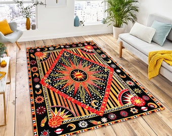 Hippie Wonderful The Sun And The Moon/_Hippie Area Rug/_Soft Area Rug/_Living room,Bedroom Carpet/_Highlight For Home/_Beautiful Rug/_Gift for Mom