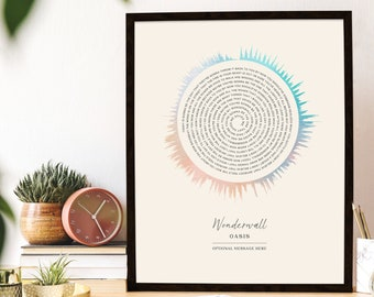 Custom Soundwave Print Song Lyrics Personalized Gift Engagement Gift Wedding Gift for Wife 5 Year Anniversary Gift for Him Romantic Gift