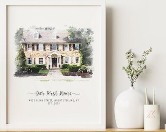 Custom House Portrait, Our First Home Gift, New Home Gift, Realtor Closing Gift, Personalized Housewarming Gift, Moving Gift