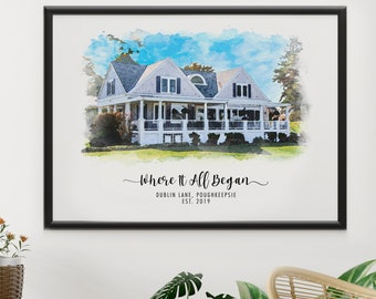 Personalized House Portrait From Photo, Personalized Housewarming Gift, Our First Home Gift, Realtor Gift, Watercolor House, Home Portrait