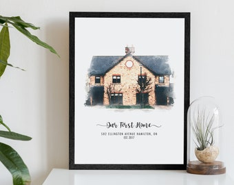 Custom House Portrait, Our First Home Gift, Housewarming Gift, New Home Gift, Realtor Closing Gift, Watercolor House Portrait From Photo