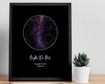 Custom Star Map Print, Night Sky, Wedding Gifts For Her, Engagement Gift, Paper Anniversary Gift For Him, Personalized Gift, Star Chart