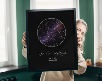 Custom Star Map By Date, Constellation, Personalized Anniversary Gift For Boyfriend, Engagement Gift, Girlfriend, Night Sky, Star Map Frame