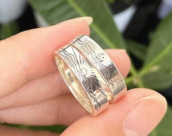 925 silver sun ring,sunrise ring,Crescent Moon ring