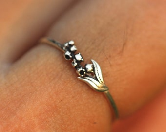 925 silver Convallaria ring,3d flower jewelry,Lily of the valley ring,Birth Flower ring,wildflower jewelry