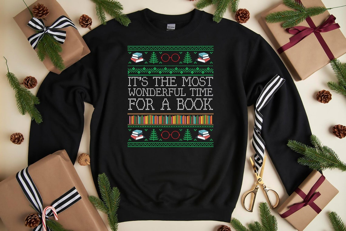 Books Reading Librarian Teacher Book Lovers Ugly Christmas image 0