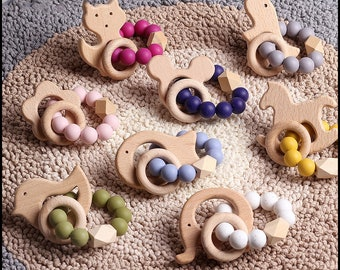 wine teether thanksgiving teether fall baby teether baby toy wooden baby toy simple baby teether Mulled Wine Wooden Ring Teether