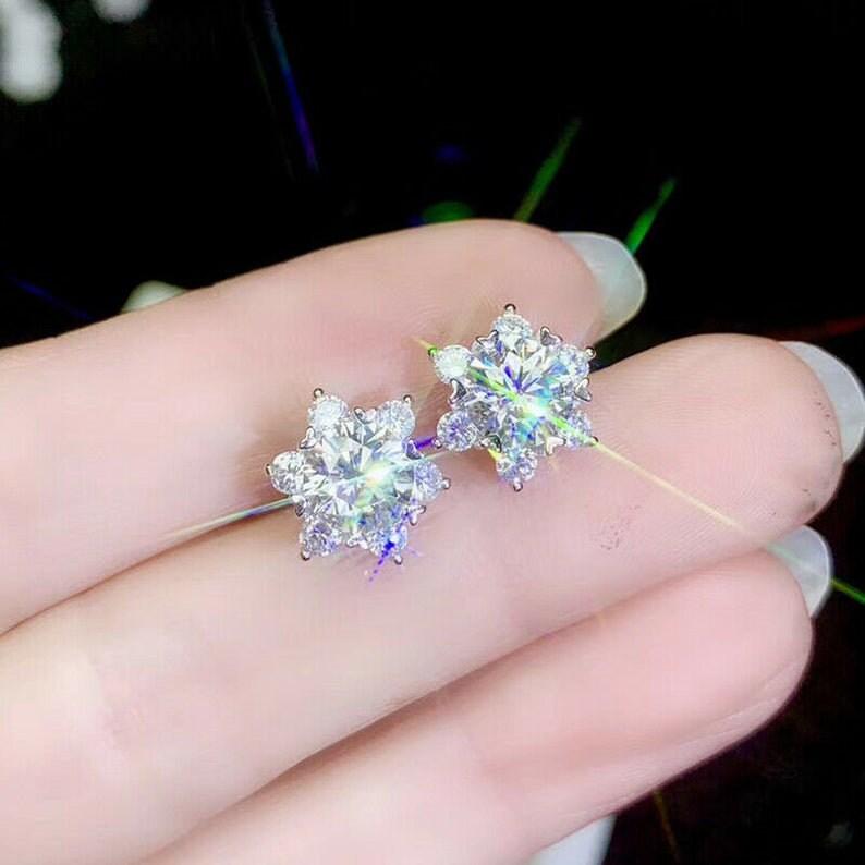 Push Back Stud for Women  Diamond Earring Round Cut  Stud Earring Stud 14K White Gold 3 Ct  Earring