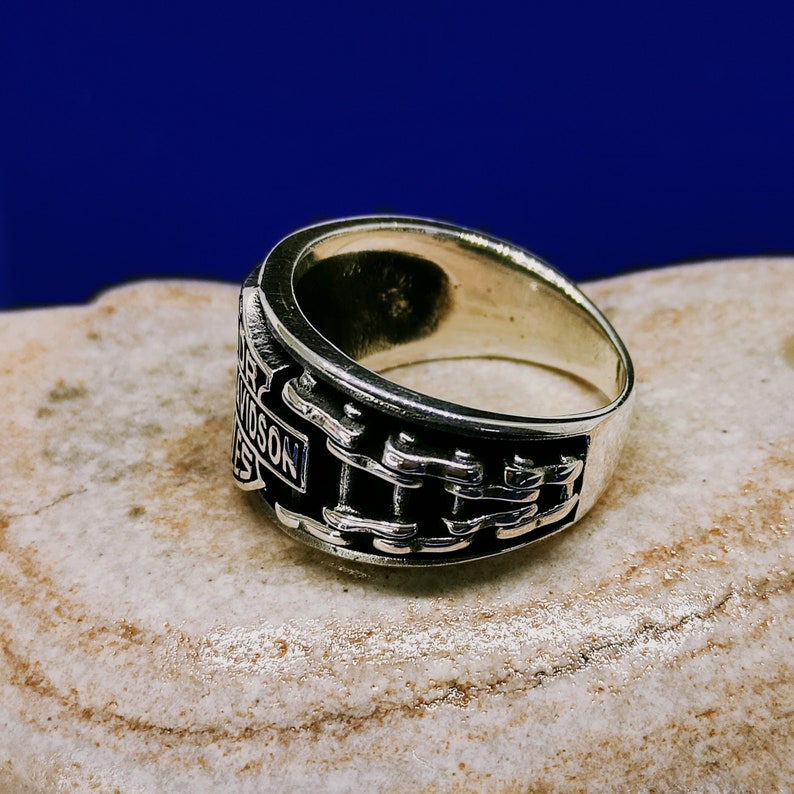 Biker Ring Motorcycle Ring Solid Silver Ring Harley Davidson Statement Ring Harley Davidson Ring