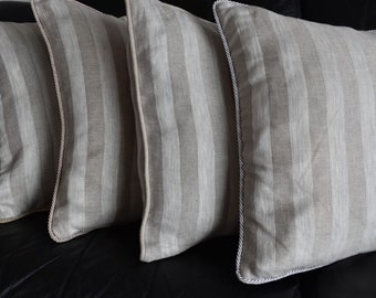 Pillow Case Grey Silver Linen Piping