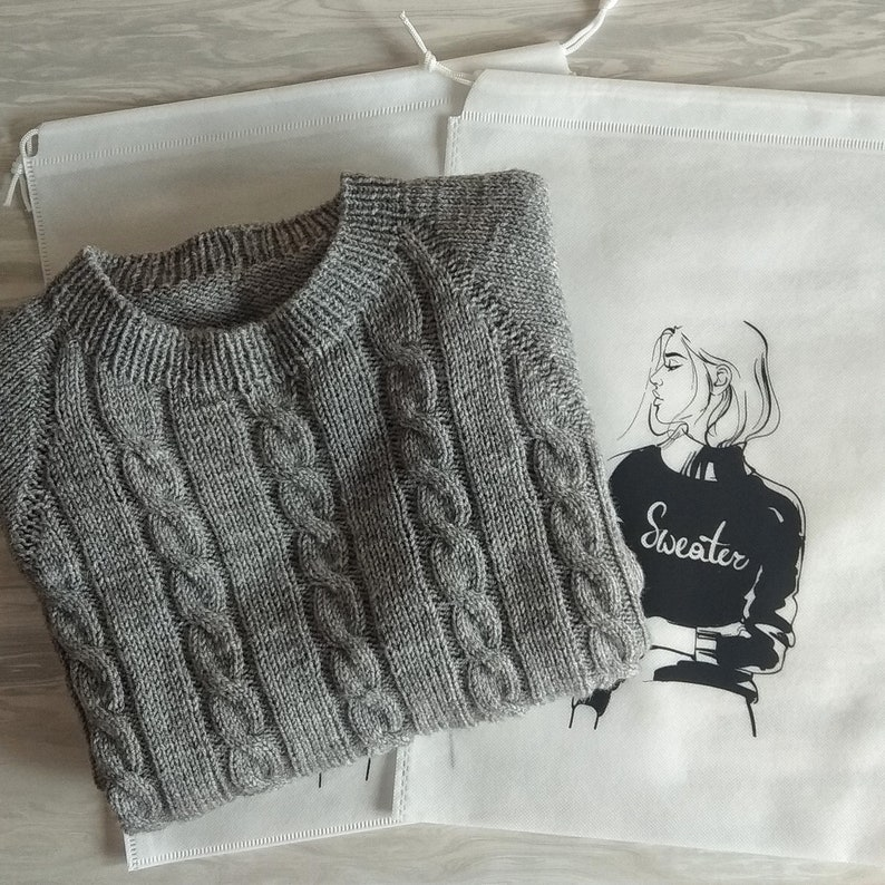 The sweater is in an individual storage bag Men/'s vintage sweater Knit Grey Men/'s Sweater Solid Casual Sweater Thick Hand-knit Pullover