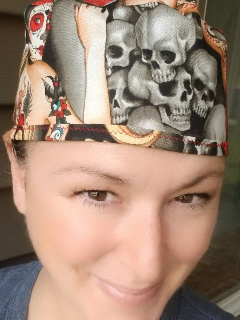 Voodoo Girl Fitted scrub cap with buttons