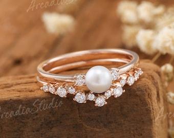 Akoya Pearl Engagement Ring Set Rose Gold Bridal Set Cluster Moissanite Half Eternity Wedding Band Curved Antique Rings June Birthstone