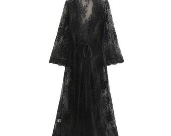 boho kimono black kimono robe black duster,the handmade plain kimono kimono dress lounge dress simple robe duster Black kimono